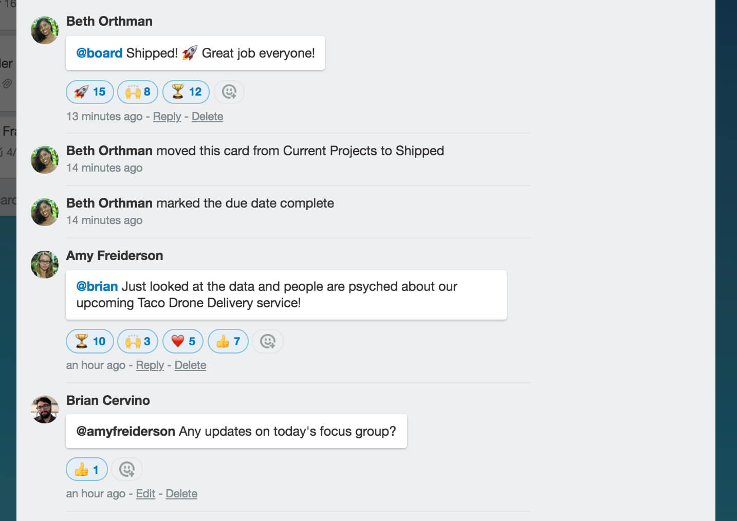 Using emoji in chat in Trello
