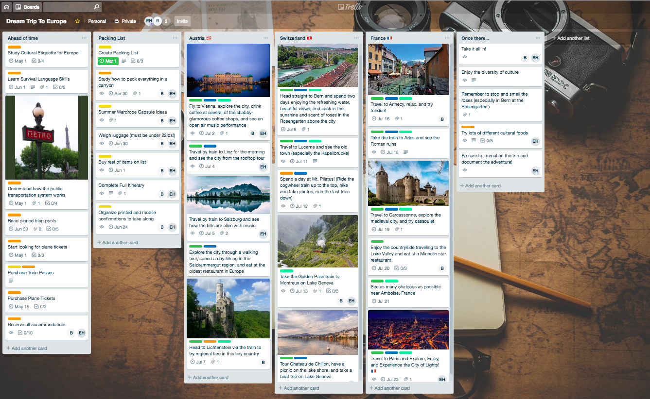Trello trip planning sample board