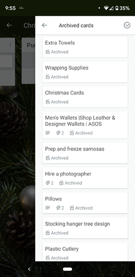 View archived Trello cards on mobile app
