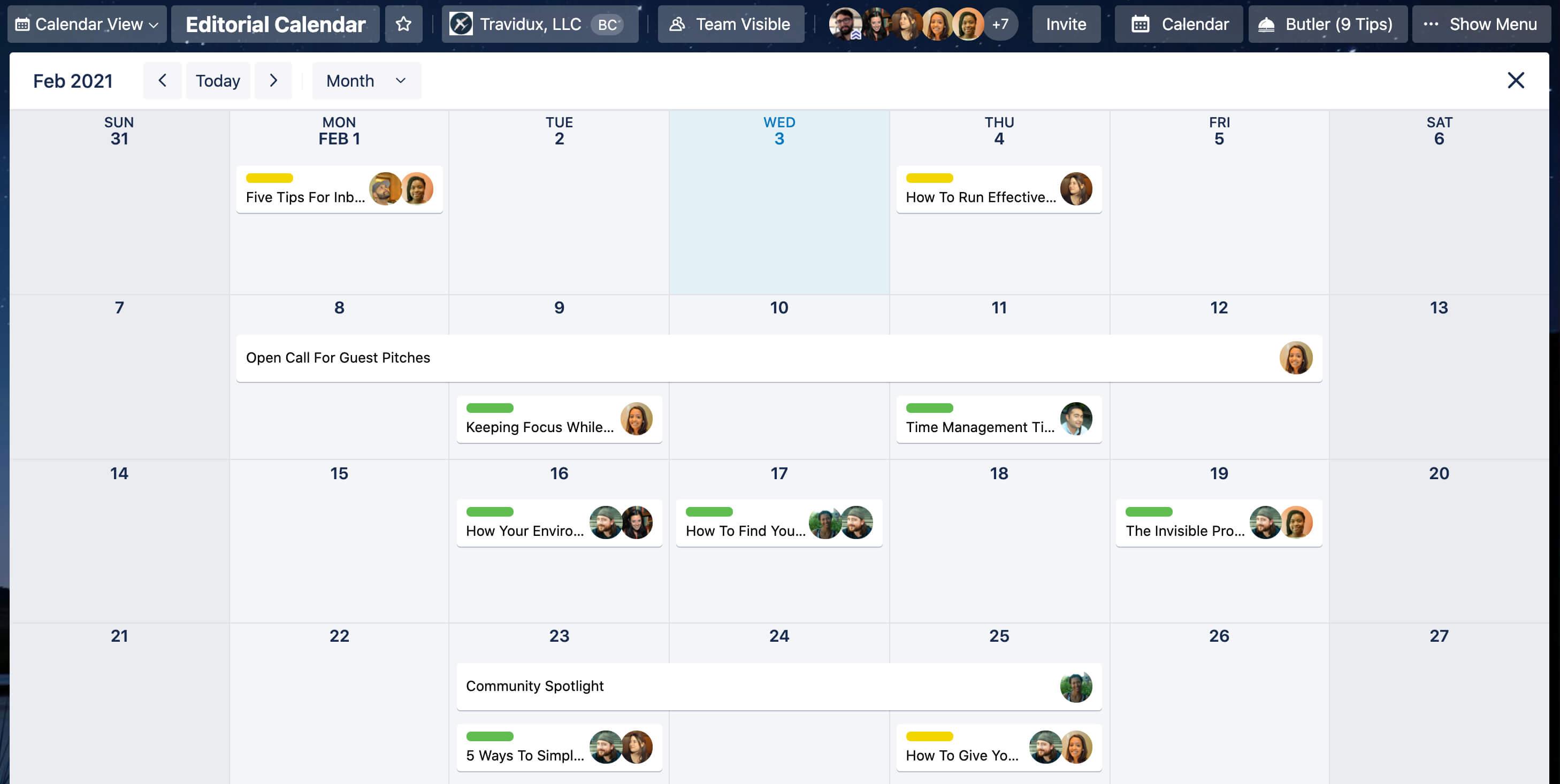 Trello Calendar View Examplel