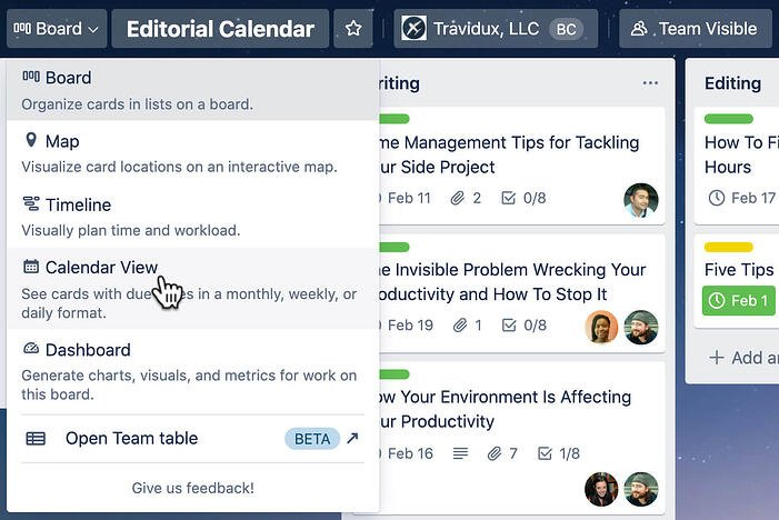 Trello Calendar View Toggle Feature