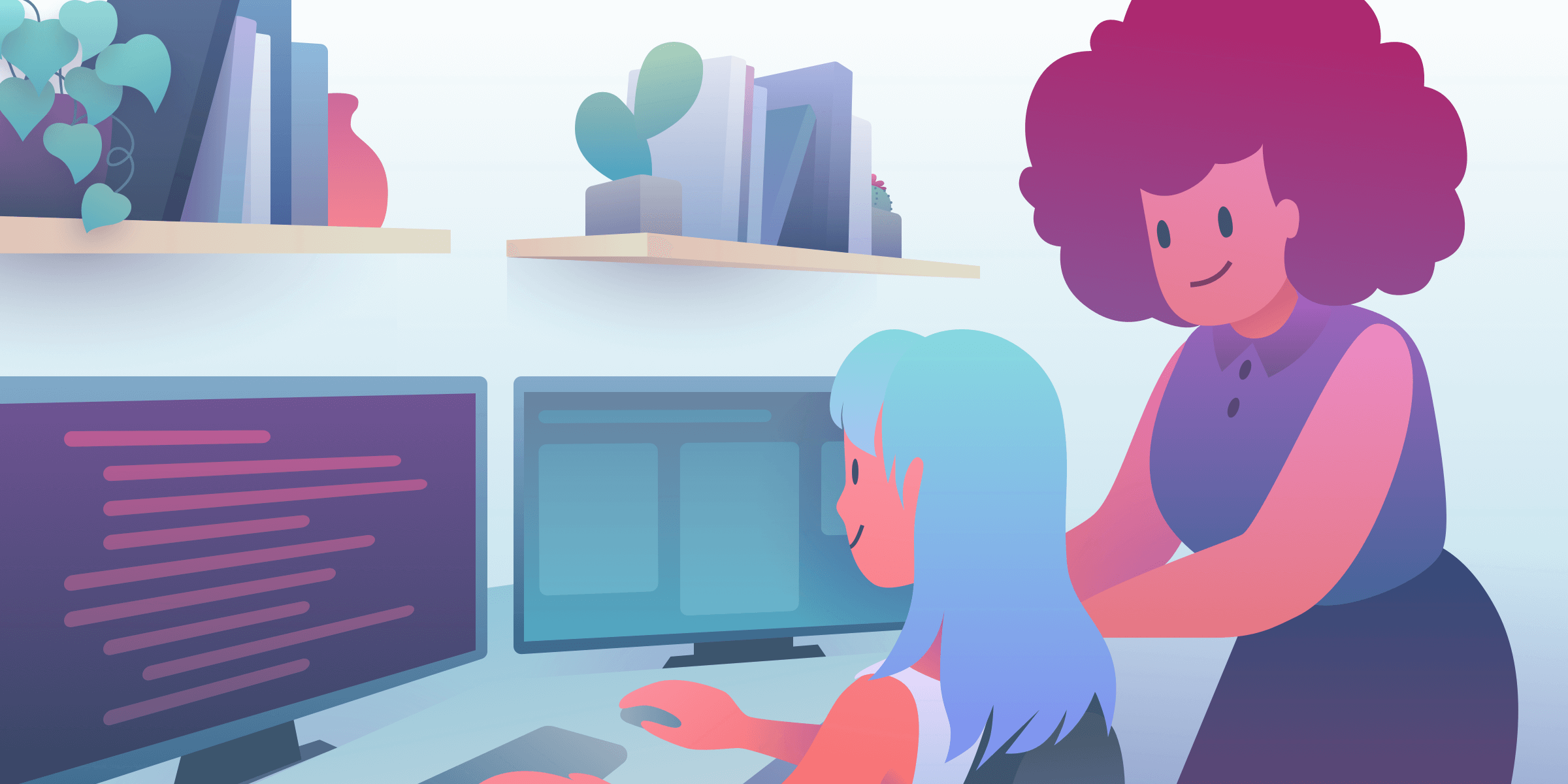 Illustration of women coding at 2 computer monitors