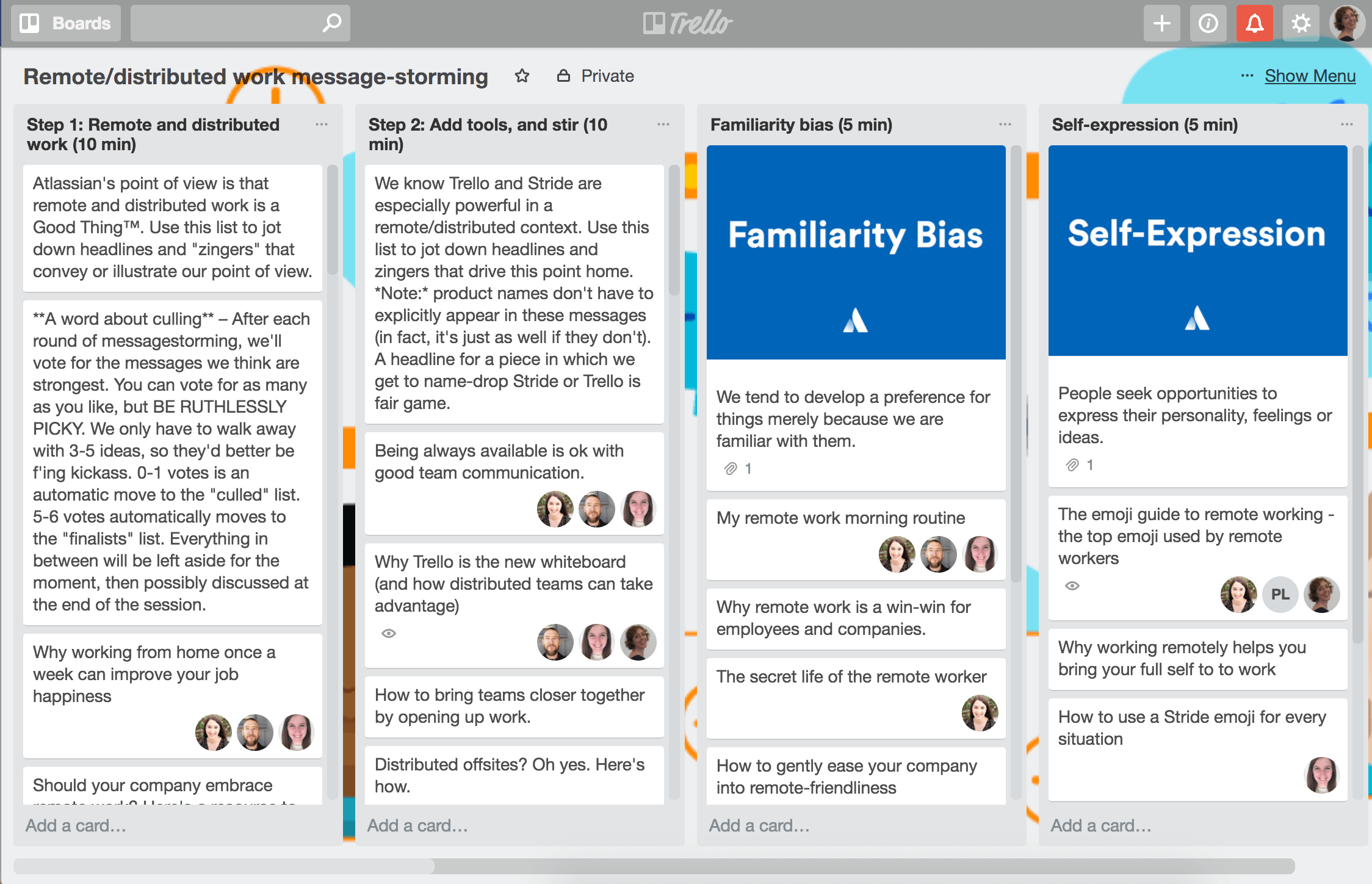 Brainstorming Trello board sample