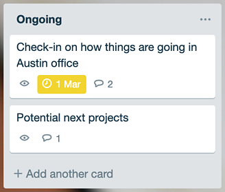 Ongoing topic list on the 1:1 trello board