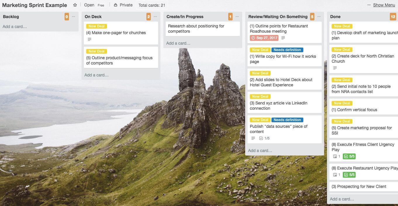 Sample Trello Scrum Board: Marketing Sprint Team Process