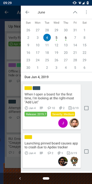calendar power-up for mobile