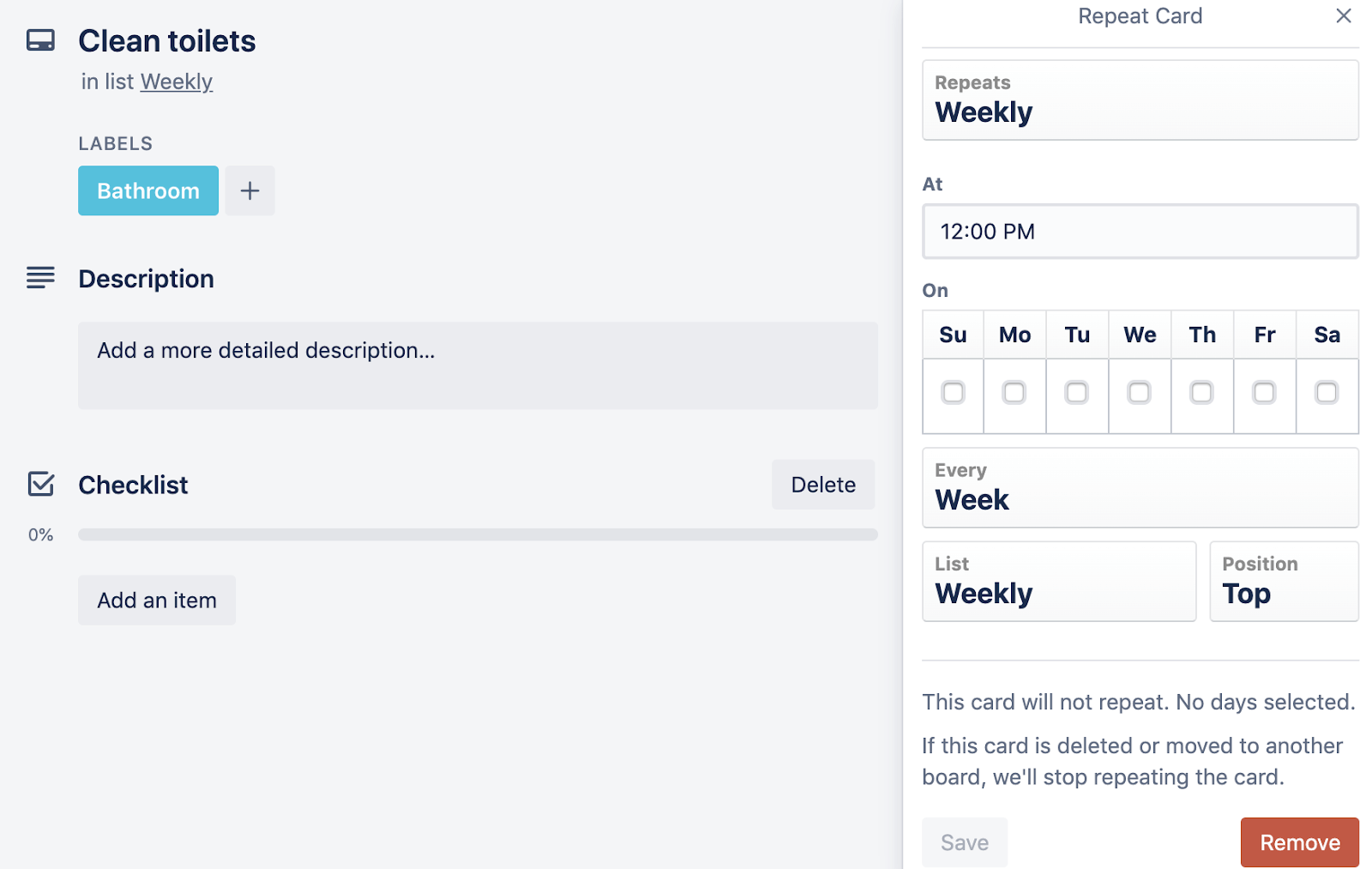 card repeater for tasks in trello