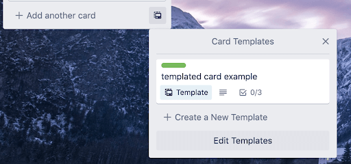 card template icon on list