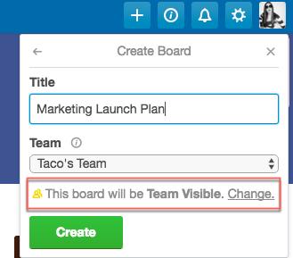 Change Trello board privacy settings