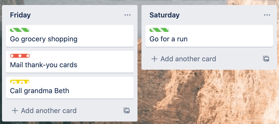color blind mode on trello on cards on lists