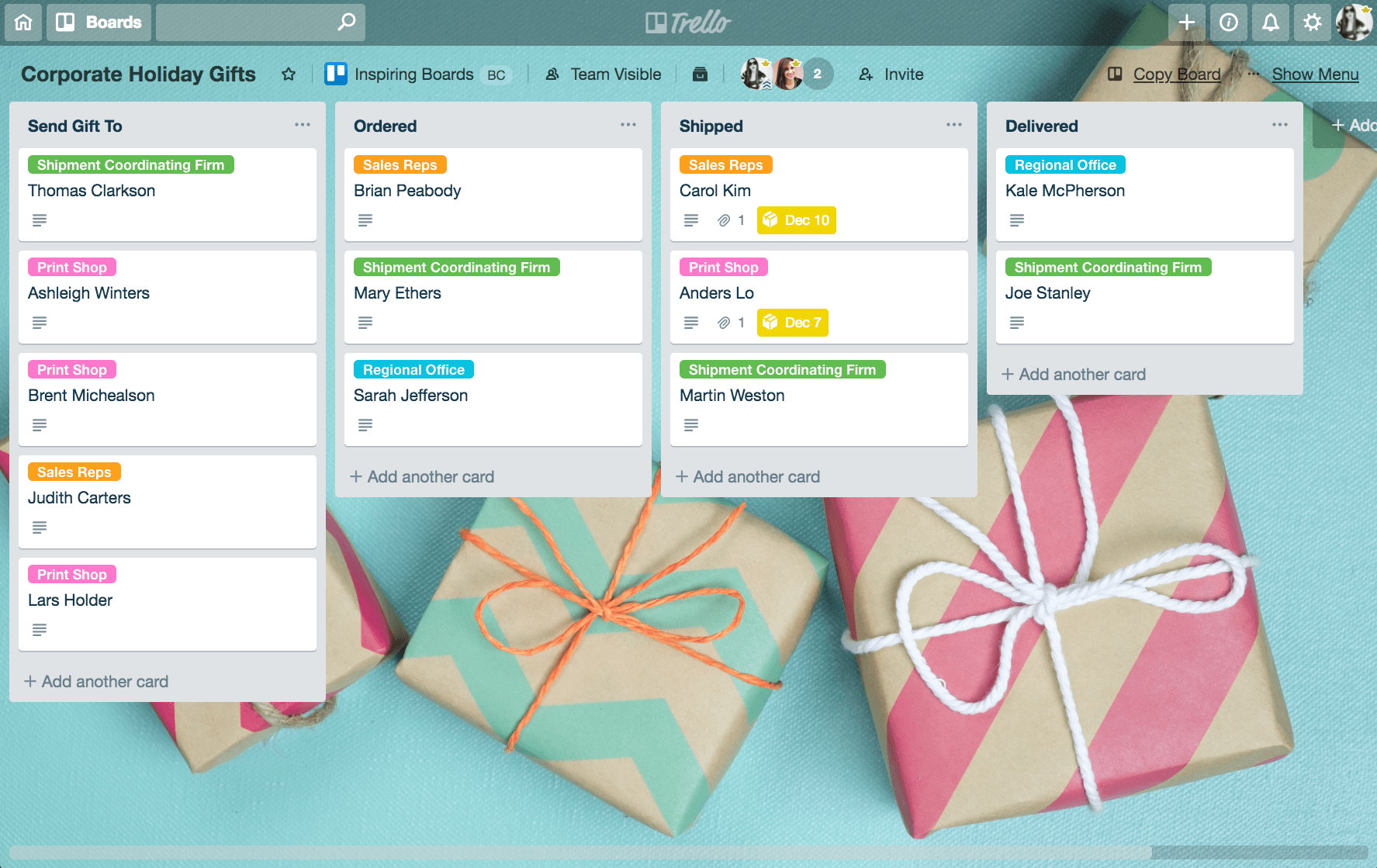 Trello Holiday Hacks: Corporate Holiday Gifts