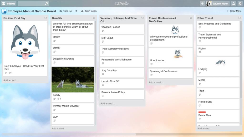 Trello repository board example (store information in Trello)