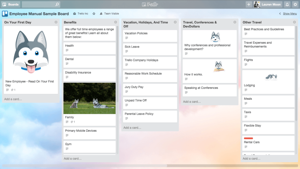 Trello repository board example (store information in Trello)