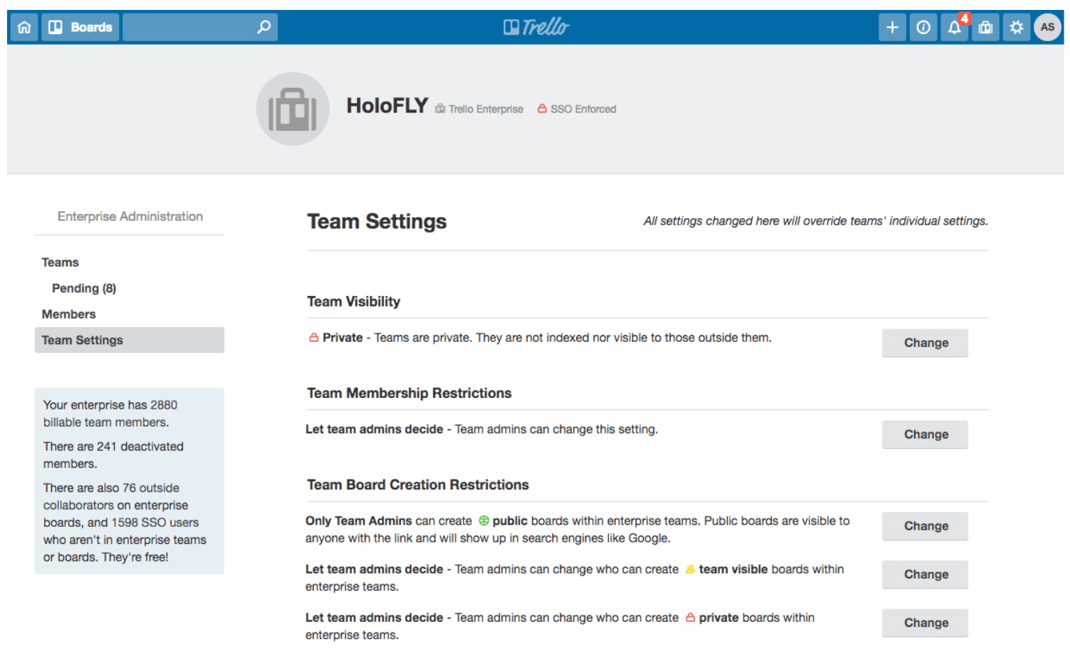 trello enterprise team settings