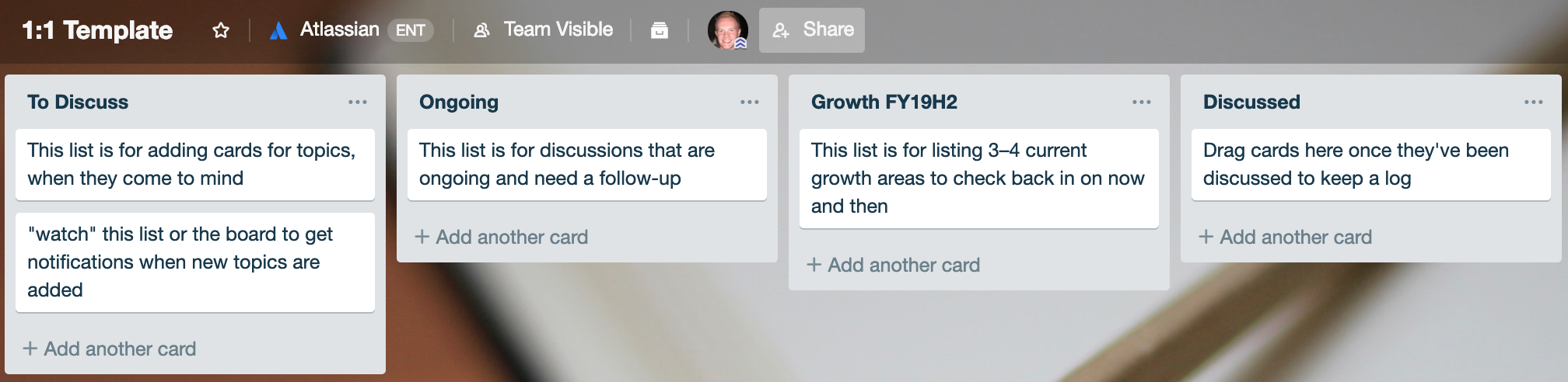 1:1 meeting board template in trello