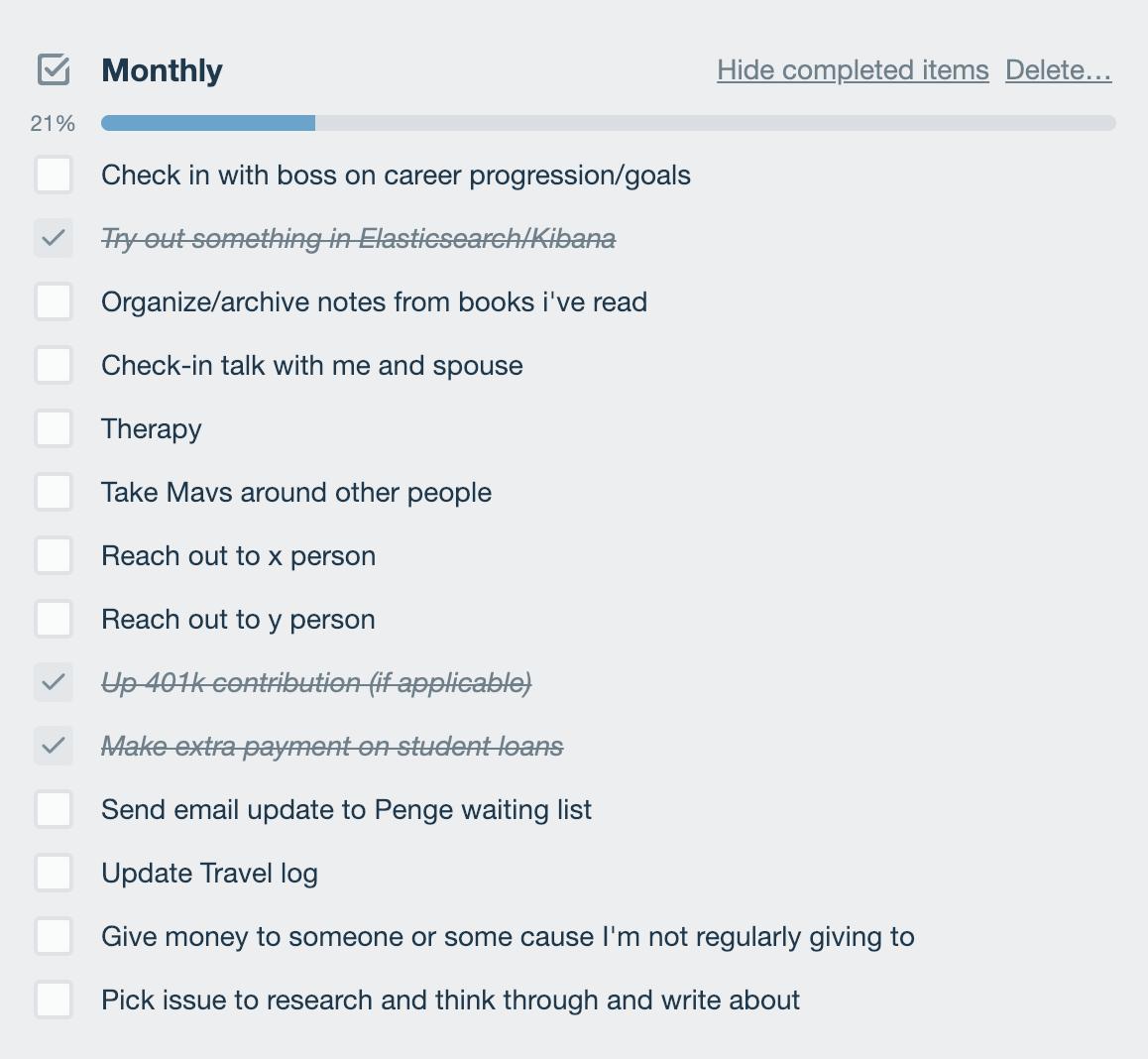 monthly goals checklist