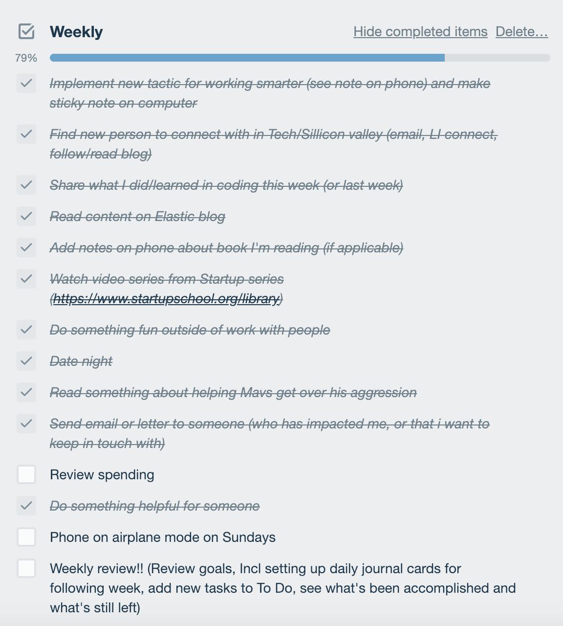 checklist des objectifs hebdomadaires