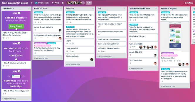 Team knowledge base in Trello is great for training your team to delegate with confidence.