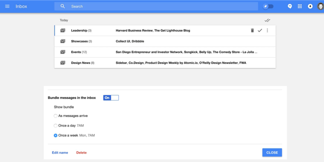 curate e-newsletters with inbox by google