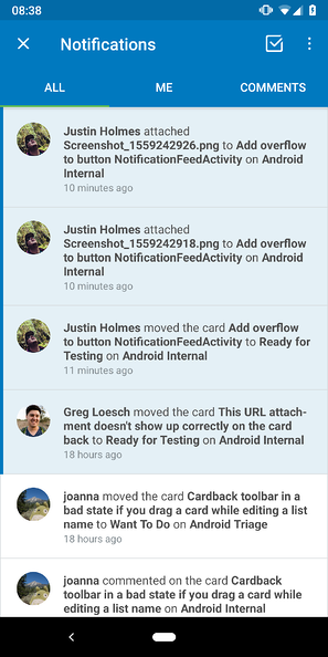 mobile notifications in Trello