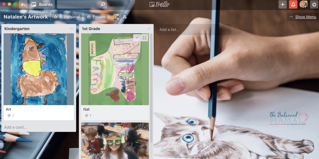 Sample Trello Board For Organizing Kids' Artwork