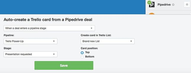 How to create Trello card in Pipedrive