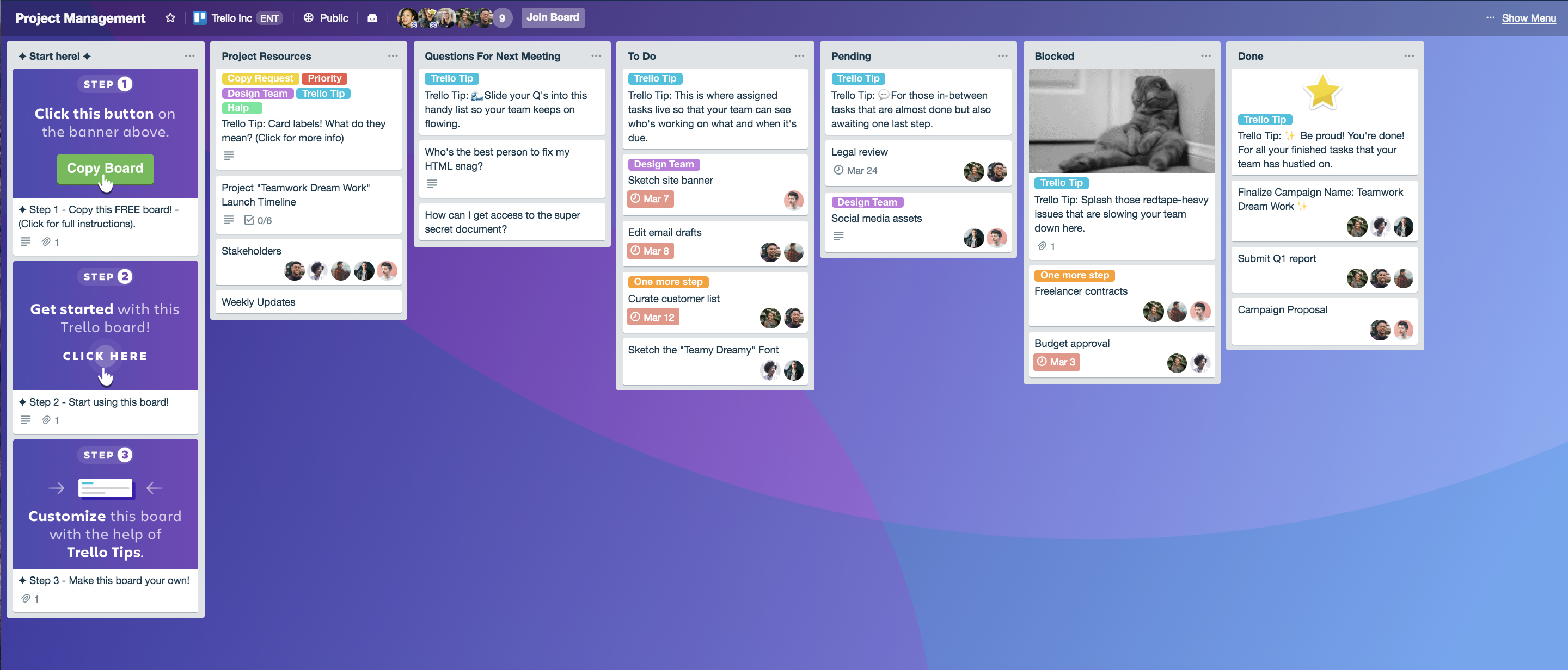 project management workflow in trello board