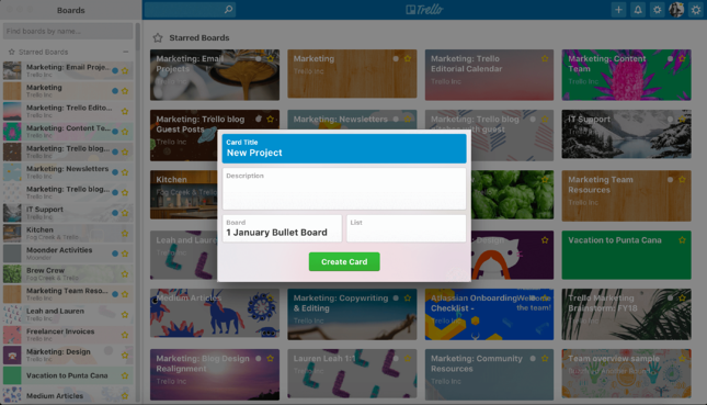 Trello quick add shortcut