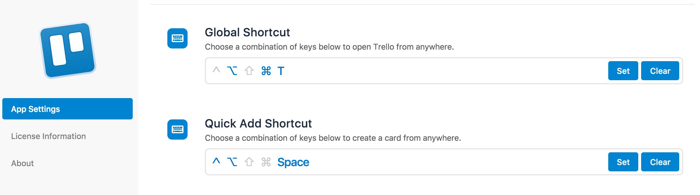 Trello app shortcuts