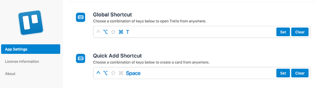 Trello app shortcuts
