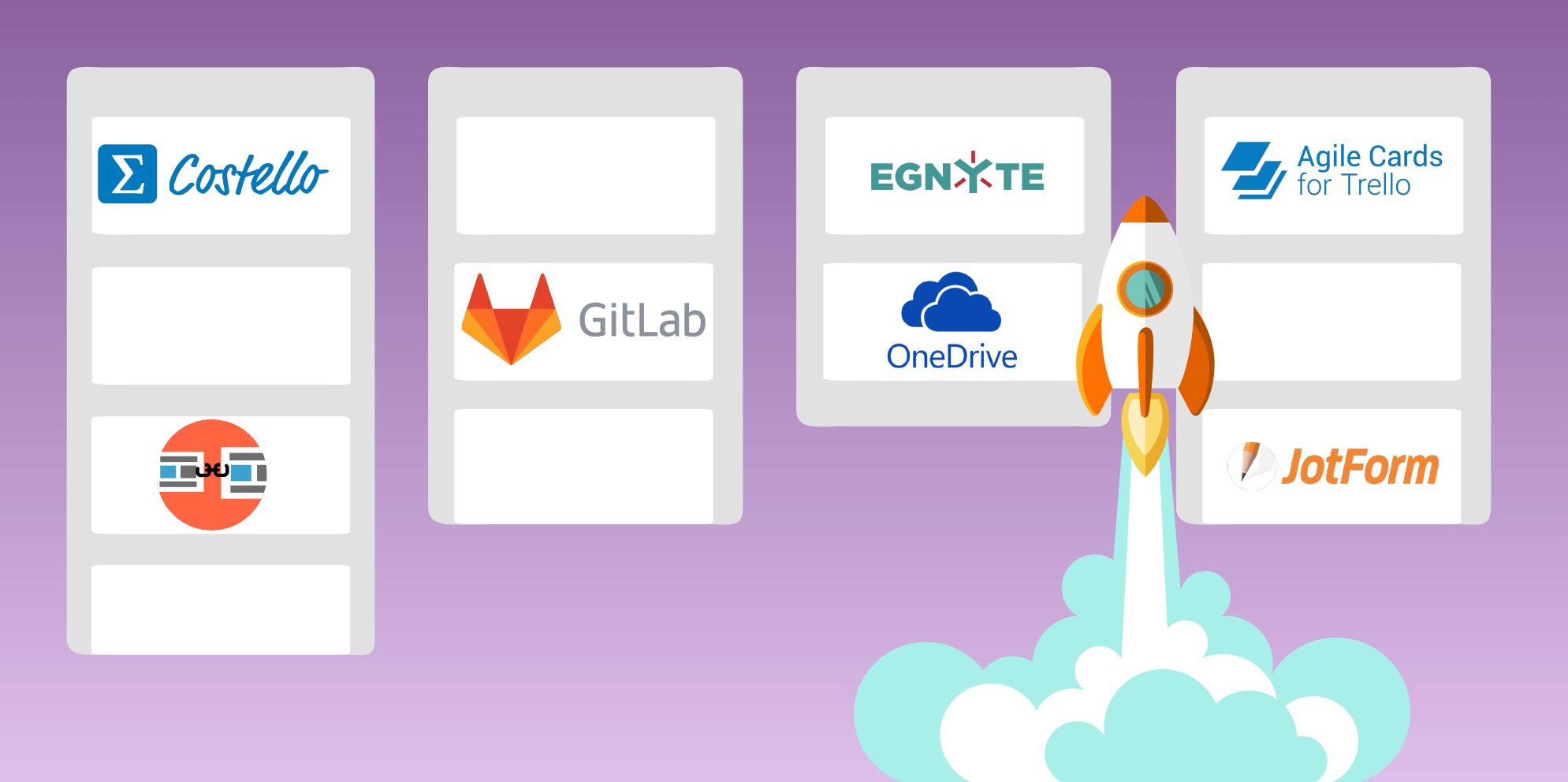 Trello Power-Ups with GitLab, OneDrive, JotForm, Egnyte, Unito, Costello, Agile Cards