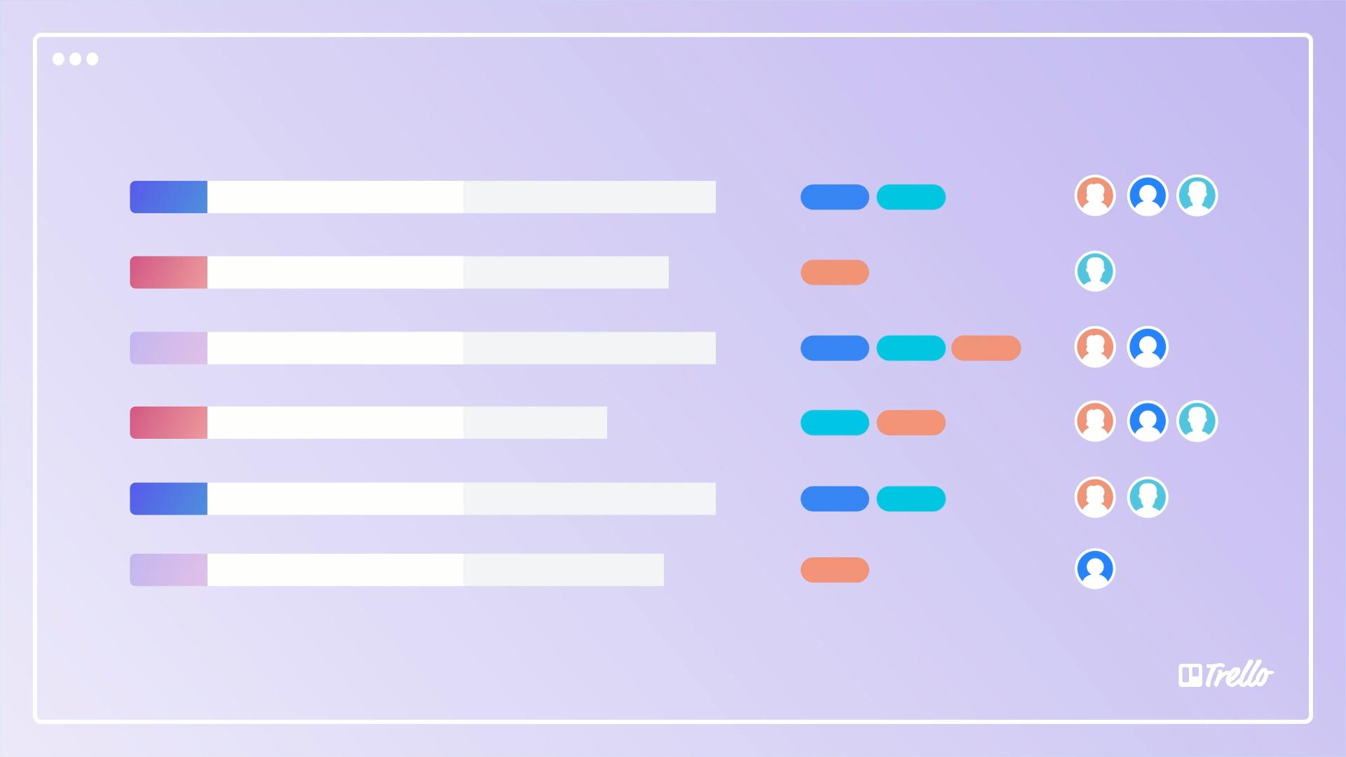 quadros de equipe para uma visualização em formato tabela