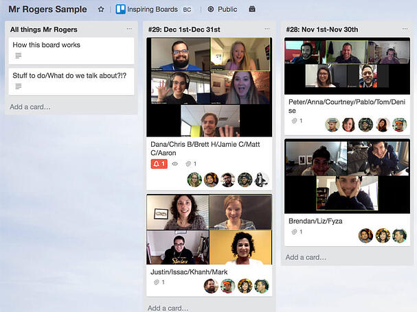 Remote Team Trello board Mr. Rogers