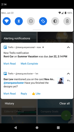 notifications account swithcer sur Android