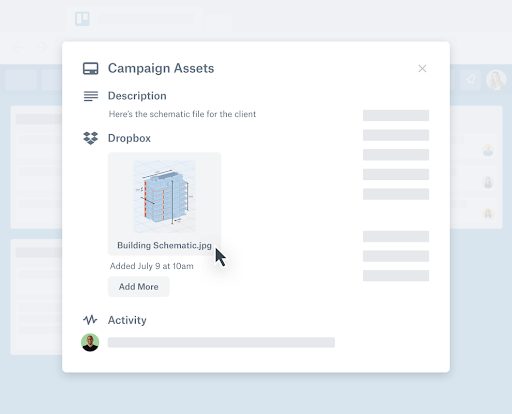 screenshot of the Dropbox Power-Up in Trello
