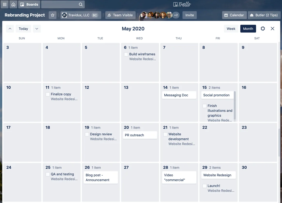 Advanced checklist items show on Trello calendar view