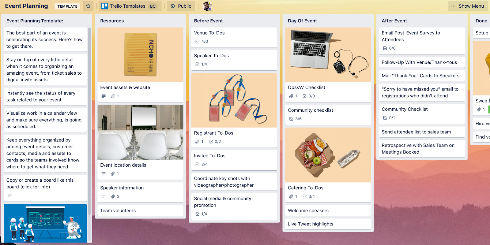 event planning template in Trello