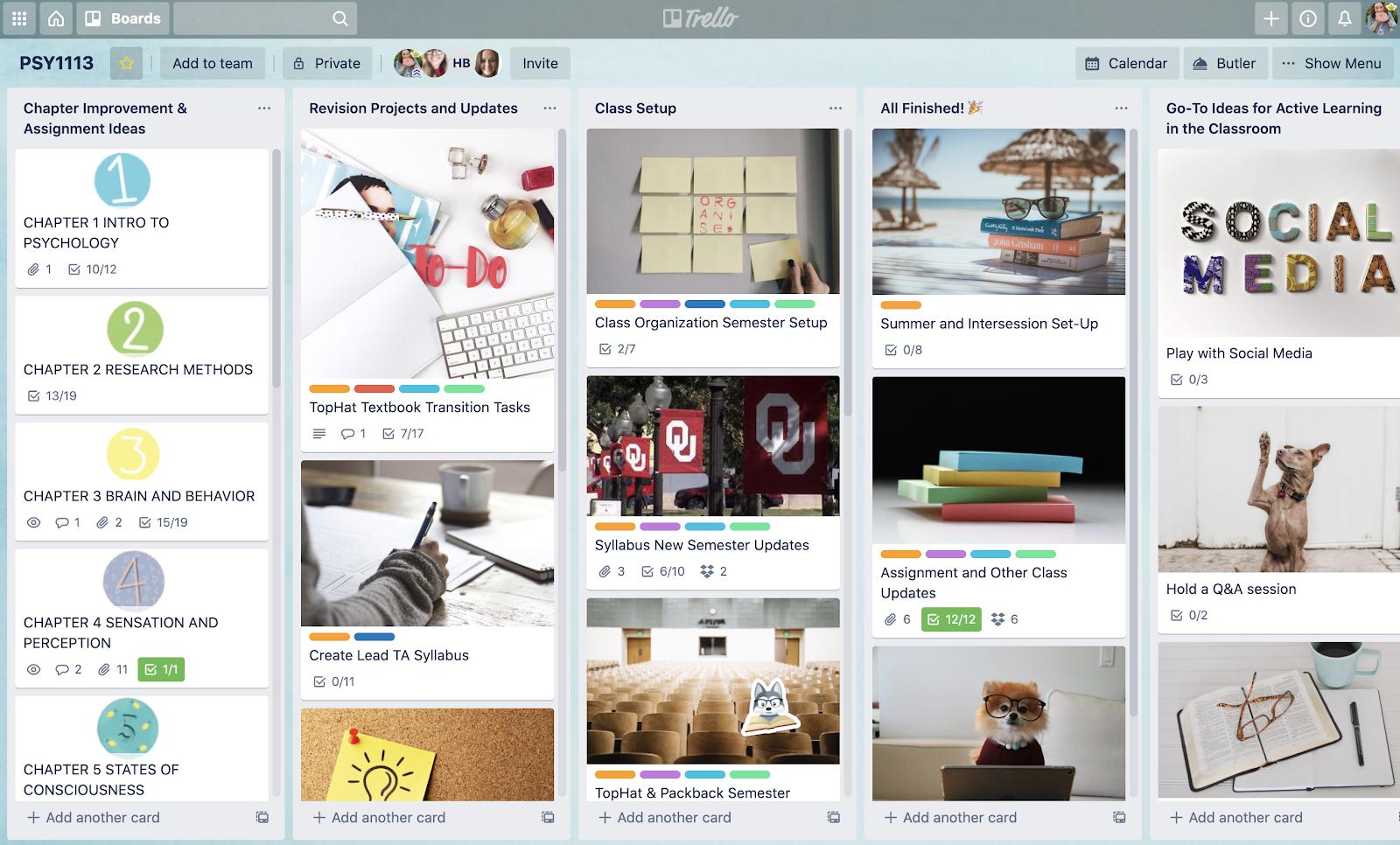 Screenshot of Trello board