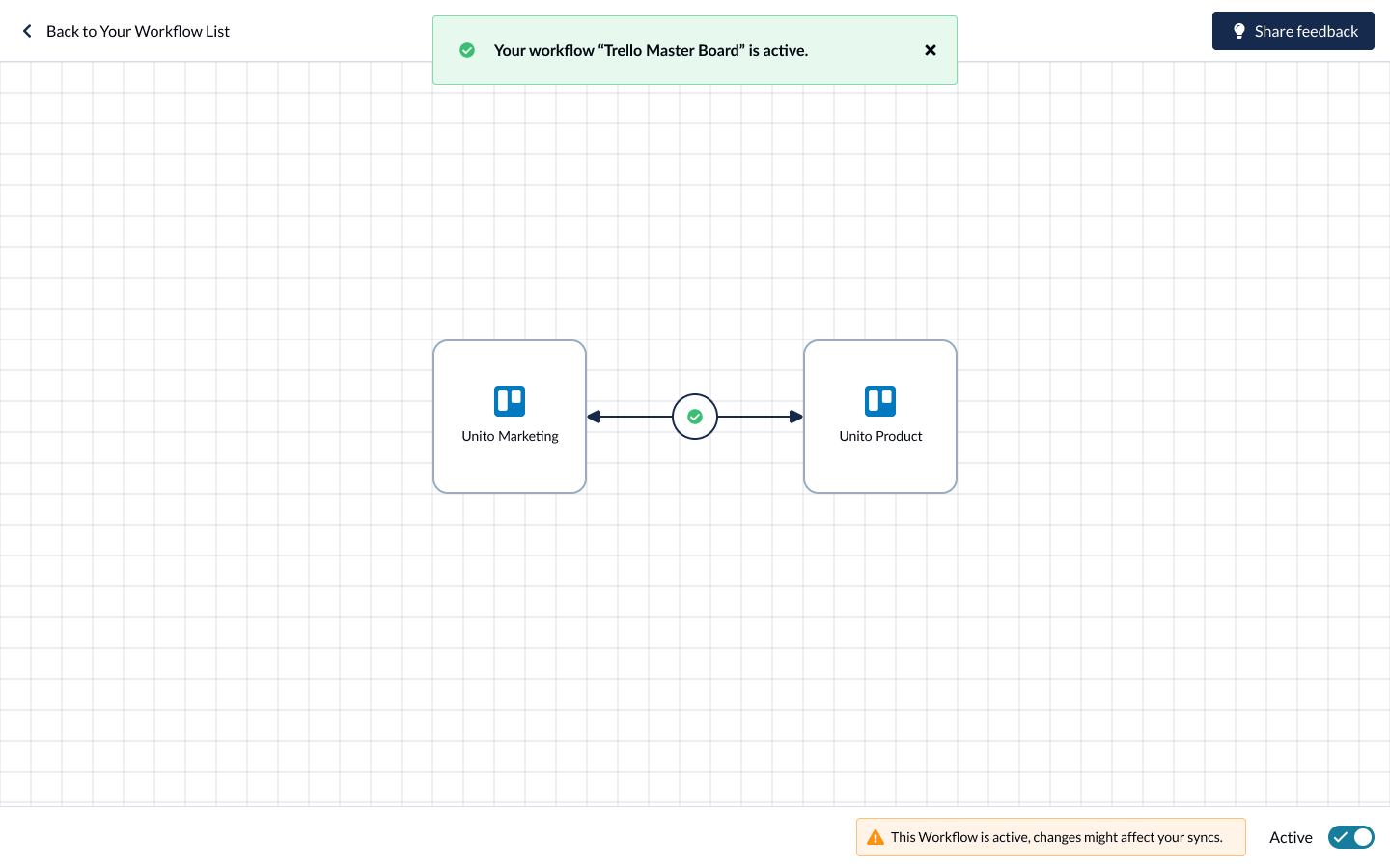 screenshot of a Unito workflow