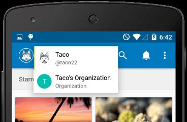 App bar menu.