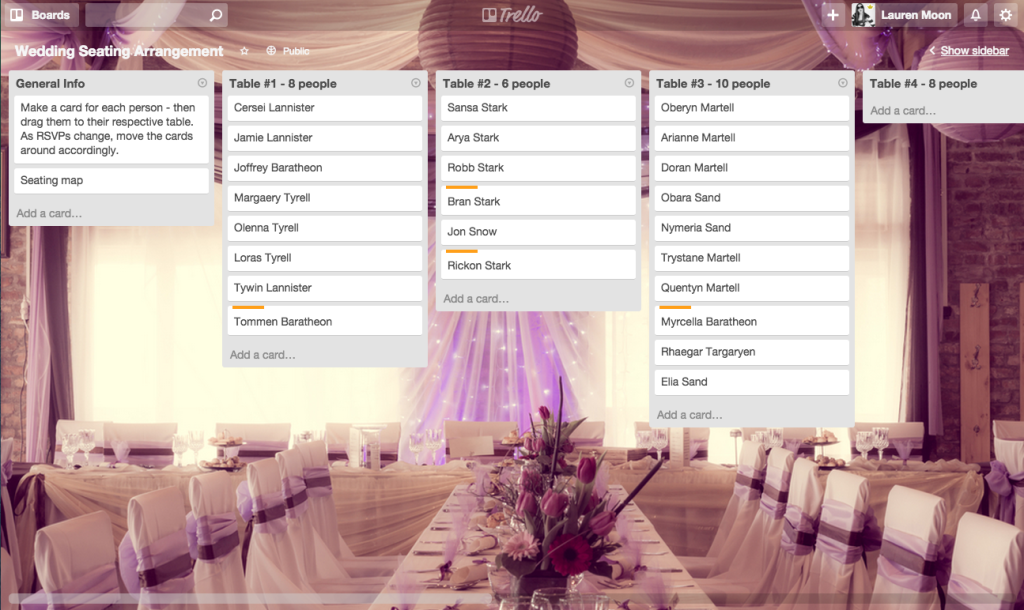 Say yes to less stress using trello to plan a wedding junglespirit Image collections