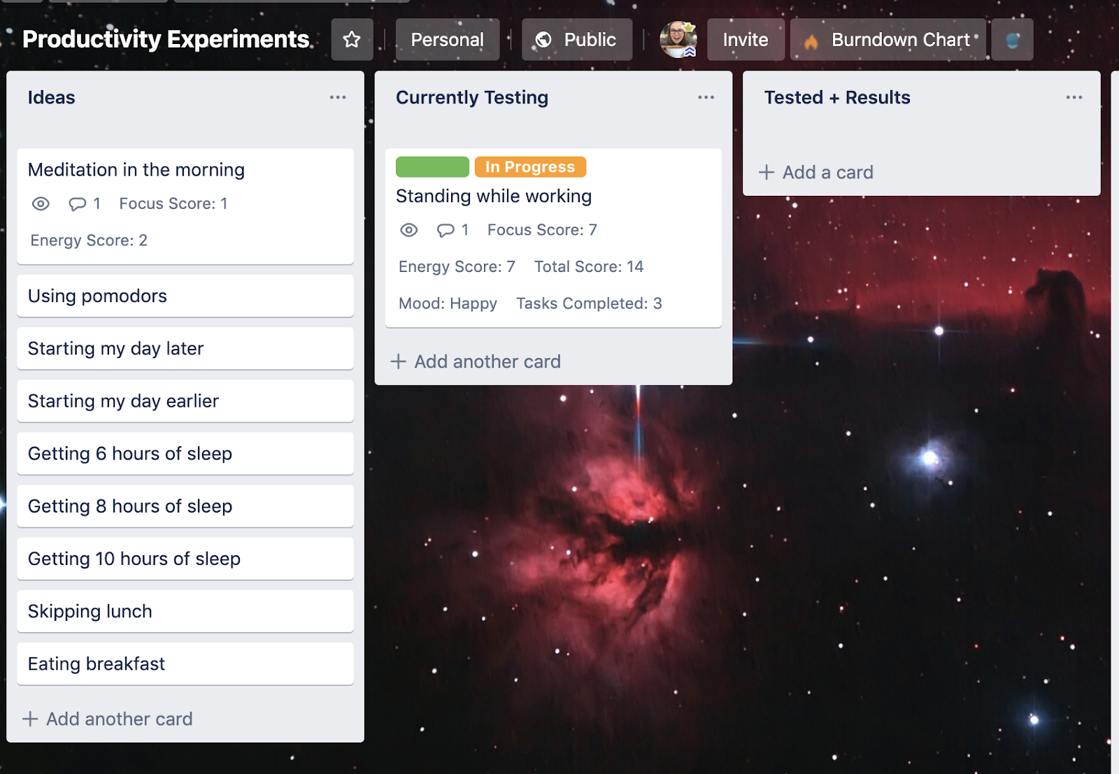 picture of a trello board about experiments