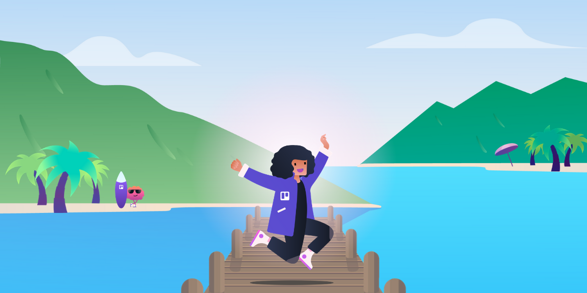 Trello illustration of person in beautiful lake scenery