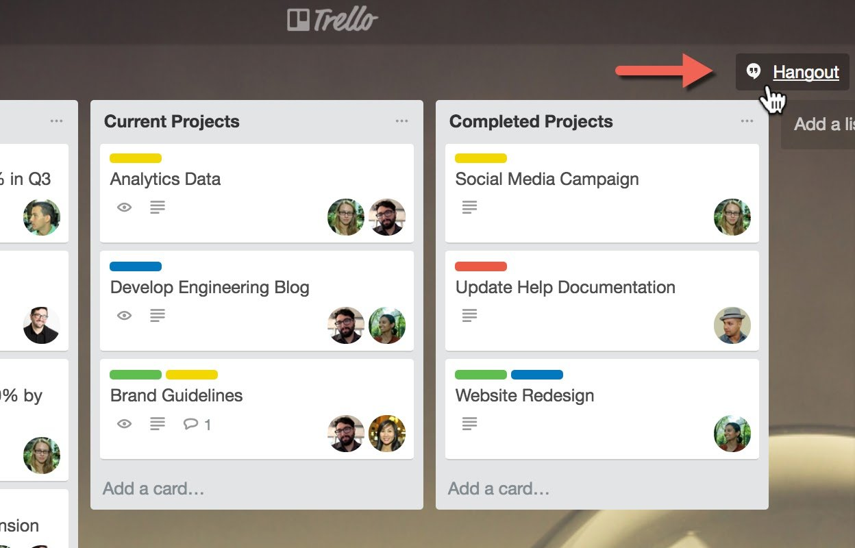What a Google Hangout link looks like on a Trello board.