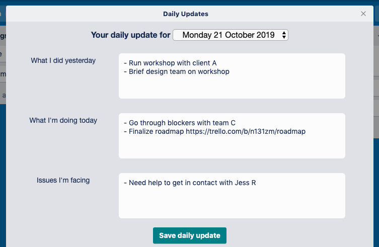 Daily Updates Power-Up view in Trello