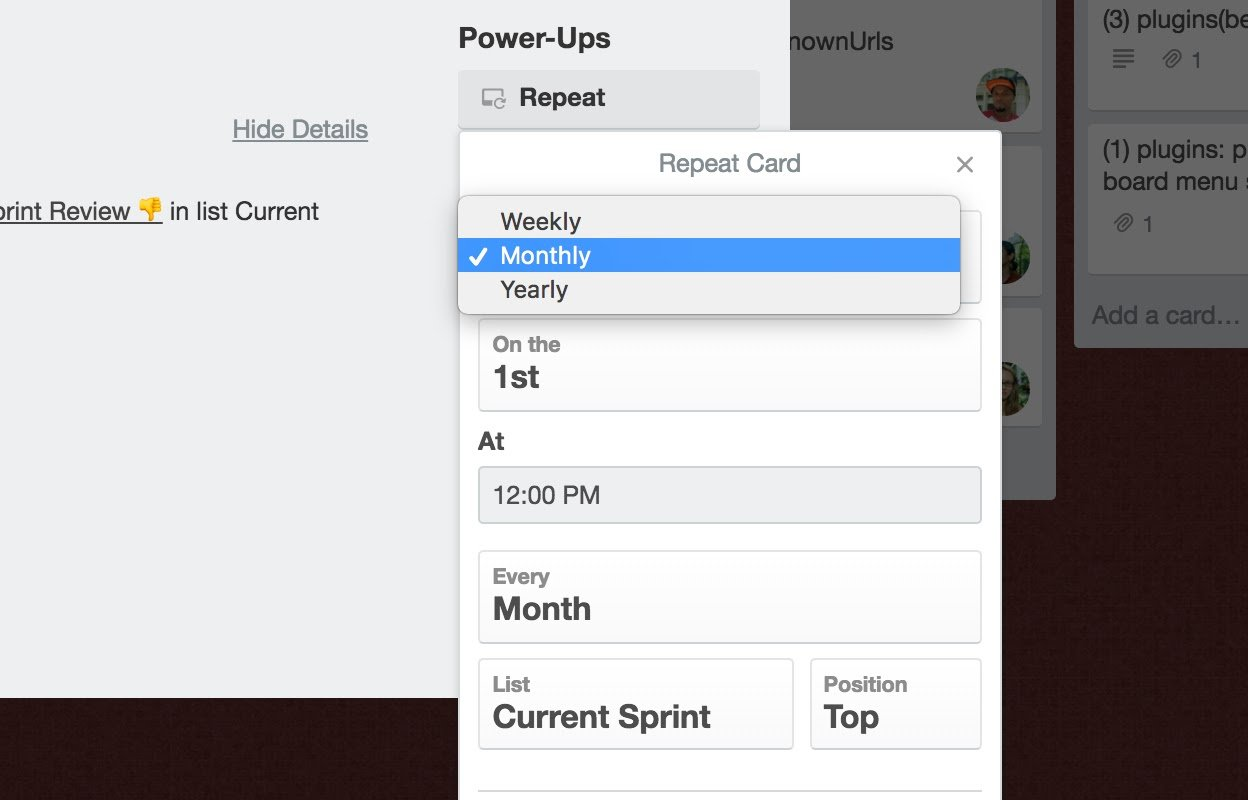 Selections on Trello Card Repeater Power-Up include Weekly, Monthly & Yearly